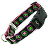 Irish Buckle Martingale Collar, Limited Slip Safety Collar, Pink, Celtic knot, shamrock, Ireland