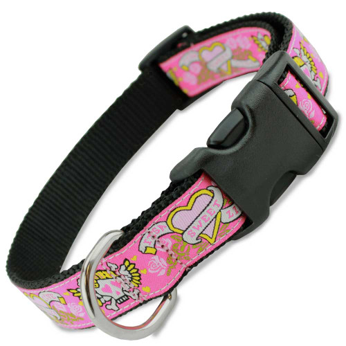 Pink Skull Dog Collar, Hot Pink with skulls, roses, banners and hearts, cute