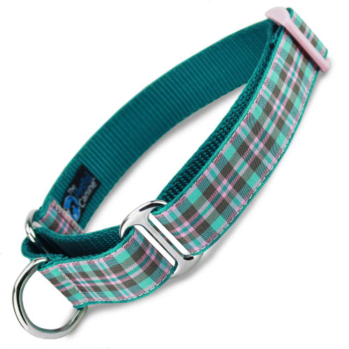 Pink. Teal Martingale Collar, Preppy Puppy Plaid martingale collar, spring martingale collar, teal pink and brown