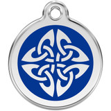 Tribal Dog ID Tag, Blue Enameling, Stainless Steel Name Tag