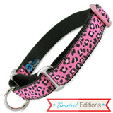 Cheetah Print Martingale Collar, Raspberry