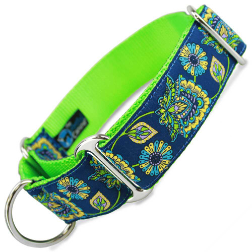 """1.5"""" Wide Martingale collar in blue floral print"""