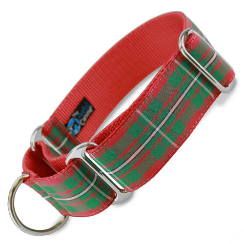 "1.5"" Wide Holiday Plaid Martingale Collar, Magregor tartan, Christmas, red and green plaid"