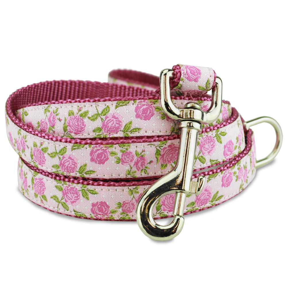Pink Floral Dog Leash Roses On Swiss Dots Pink Dog Lead With Flowers
