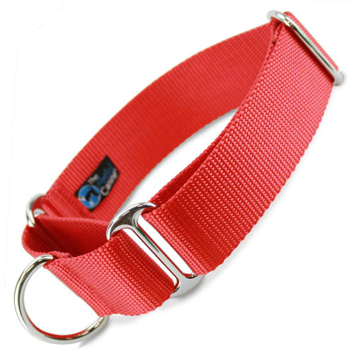 """Red 1.5"""" Wide Nylon Martingale Collar"""