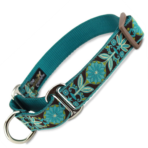 Teal Flower martingale dog collar