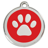Paw Print Dog ID Tag, Red Enamel over Stainless Steel