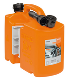 UN approved, orange. Twin canister for 5 litres of fuel and 3 litres of chain oil. Includes 2 holders for storing tools and accommodating the filling system (tool and filling system not included).