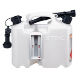 Stihl Combination Canister Transparent - 0000 881 0123  Twin canister for transportation of 5 litre fuel and 3 litre chain oil. UN approved. Includes two holders for storing tools and accommodating the filling system (tool and filling system not included). Transparent, black spout with cap.