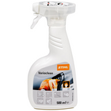 Stihl Varioclean Special Cleaner 500ml -  0000 881 9400  Water based, alkaline detergent specifically for dissolving and removing organic oil residues and for cleaning air filters and housings. The detergent is biodegradable. Avoid contact with the eyes and keep out of reach of children.   Details: AQUA, DISODIUM METASILICATE, SODIUM LAURIMINODIPROPIONATE, SODIUM POLYACRYLAT.