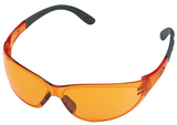 Stihl CONTRAST safety glasses - Orange - 0000 884 0324  EN 166, material with 100 % UV protection, side protection, padded earpieces, non-misting interior, scratch-resistant exterior.  High contrast enhancement.