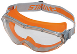 Stihl ULTRASONIC safety goggles - Clear - 0000 884 0330EN 166, also suitable for spectacle-wearers, for all jobs especially when working with emergency rescue saws and cut-off saws, material with 100 % UV protection, side protection with ventilation. Non-misting interior, scratch-resistant exterior.