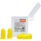 Stihl Ear plugs (box of 2 pairs) - 0000 884 0476  Made from conically shaped polyurethane foam with good noise reduction. The soft material gently fits into the ear canal. Two pairs in a multibox. SNR 33 (H:32; M: 29; L: 29) (up to 113 dB(A)). EN 352.