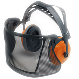 Stihl Short face/ear protection & nylon mesh - 0000 884 0517  STIHL ECONOMY face protection Lightweight combination with ear defenders (EN 352) for good noise reduction (up to 104 dB(A)) and pivoting nylon visor. Adjustable head strap. EN 166, EN 1731, SNR 24 (H : 28; M : 21; L : 13) (up to 104 dB(A))
