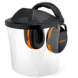 Stihl Polycarbonate visor - with ear defenders - 0000 884 0565  With double headband to support the back of the head and ear defenders. With enlarged polycarbonate visor and additional forehead protection. Meets SNR 30, EN 352 and EN 166.