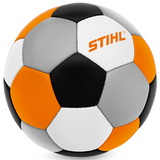 Stihl Children's Multi-Coloured Football - 0464 936 0020  This size 5 PVC-free synthetic leather ball in a classic football design offers lots of fun for big and small children alike, both on the pitch and in the garden. The ball is hand stitched and features a seamless butyl bladder with safety valve. Weight 420-435 g