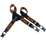 Stihl Black Trouser Braces 130cm - Metal Clips - 0000 884 1576  Braces for protective trousers, colour black/orange. For trousers with metal clips (length 130 cm) or buttons (length 110 cm).