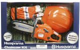 Husqvarna Toy Chainsaw Kit - 586 49 82 01  Kit includes battery operated toy chainsaw toy chainsaw with chainsaw sound and rotating chain.  Batteries included.  Plastic helmet and gloves  Age 3+years