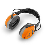Stihl DYNAMIC BT Ear Protectors - 0000 884 0519  Ear protectors with Bluetooth speakers. Suitable for a wide variety of uses, such as mowing, clearing and brushcutting, Bluetooth 4.0,  seperate AUX input, battery runtime up to 38 hours, EN 352, SNR 29 (H:33, M:26; L:18). USB charging cable supplied.  Microphone allows for phone connection when connected.