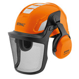 Stihl ADVANCE Vent helmet set - 0000 888 0801  Vented helmet with slim profile ear protectors for comfort and mobility during operation and with the ratchet adjustment headband it's simple to set-up. Reflective stickers are visible from all angles to aid safe working. The sturdy metal mesh visor allows up to 70% light visibility for a protected and clear view.