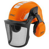 Stihl ADVANCE X - Vent helmet set - 0000 888 0802   Vented helmet with slim profile ear protectors for comfort and mobility during operation and with the ratchet adjustment headband it's simple to set-up. Reflective stickers are visible from all angles to aid safe working. The sturdy spring steel mesh visor allows up to 80% light visibility for a protected and clear view.