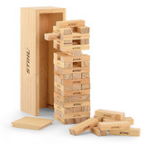 Stihl Children's Wooden Stacking Tower Game  - 0464 959 0010  Natural colour, pine wood, FSC certified, 54 wooden blocks, tower size: 23.5 x 8 x 7 cm, block size: 6 x 2 x 1.2 cm, laser engraved STIHL on tower and each block.