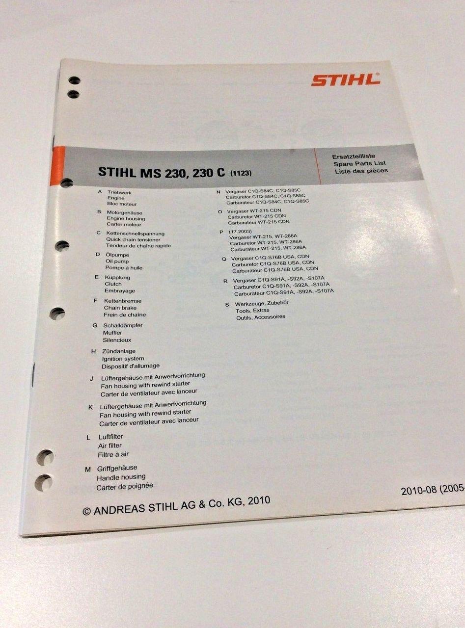 Workshop Spare Parts List for Stihl MS 230 - MS 230 C 0452 531 1323