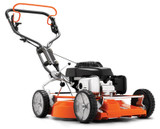 "HUSQVARNA LB553SE 21""/53cm Petrol Self Propelled Lawnmower with Ergonomic Handle  Motor/engine manufacturer: Honda Engine name: GCV 160 Cylinder displacement: 160 cm³ Fuel tank volume (with reserve): 0.9 l Net power at preset rpm Energy: 2.8 kW Net power at preset rpm: 2900 rpm Engine lubrication type: Splash Cutting methods: BioClip® Cutting width: 53 cm Cutting height max: 65 mm Cutting height min: 27 mm Drive system: Self-propelled, single speed Weight: 36.7 kg Sound pressure level at operators ear: 82 dB(A) Sound power level, measured: 96 dB(A)"