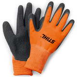 Stihl FUNCTION DuroGrip Work Gloves (Small - 8) - 0088 611 0108  PES knit with heavy-duty latex palm coating. The PES knit covering the back of the hand and fingers is highly breathable and the latex palm makes the gloves ideal for use in wet conditions.  Technical data Technical dataValue Cut protection classNo protection Elasticated or fitted cuffsyes Linedno