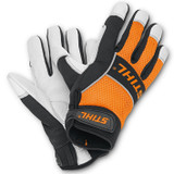 Stihl Advance Ergo MS Work Gloves (Small - 8) - 0088 611 0208  Professional work glove made from full grain leather. With textile backing, reflective stripes, interior surfaces with padding for superb comfort, especially during periods of extended use. These gloves are designed for the forestry professional; however they are not chainsaw protective.  NO CUT PROTECTION