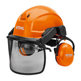 Stihl DYNAMIC X - Ergo helmet set - 0000 888 0807  STIHL Dynamic X-Ergo helmet set for professional use. The low weight of 800g makes it comfortable to wear for those long working days. High level of ear protection (SNR 30). Metal mesh for optimum visibility. Light penetration: 60%. Extendable push bar with locking positions for optional safety glasses, DYNAMIC Light Plus (available as an accessory). Vents in the upper part of the helmet shell. Complies with EN 352, EN 397, EN 1731.
