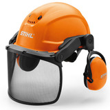 Stihl DYNAMIC Ergo - helmet set - 0000 888 0808  Newly designed helmet set for landscaping and gardening use. This lightweight helmet only weighs 750g, making it a comfortable helmet to wear all day. Very good hearing protection (SNR 28). Large nylon visor for good visibility. Headband with ratchet style knob for easy adjustment. Vents in the upper part of the helmet shell allow for optimum airflow and cooling during work. Complies with EN 352, EN 397, EN 1731.
