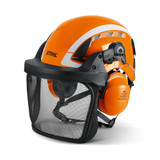 """Stihl ADVANCE X-CLIMB helmet set - 0000 888 0812  The X-Climb is the first multi-norm helmet from STIHL designed specifically for tree surgeons. The new X-Climb conforms to both; EN 397 (helmets for industrial use """"hard hats"""") and also EN 12492 (helmets f or climbing and mountaineering). This makes the X-Climb perfect for tree surgeons who an wear this helmet on the ground as well as in the tree.  Head protection combination in a new, modern design with a good balance. Universally applicable on the ground for wood harvesting and tree care work. Very comfortable to wear thanks to very good ventilation, 4-point chinstrap with magnetic closure and comfortable ratchet adjustment of the headband. High security through reflective stickers. Helmet shell made of UV-stabilized ABS, visor made of nylon for a long service life, highly insulating ear defenders SNR 28. Complies with EN 397, EN 12492."""