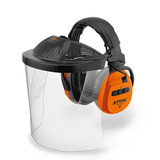 Stihl DYNAMIC BT-PC face & hearing protection set - 0000 884 0538  Ear protection with Bluetooth® (BT) and polycarbonate visor EN 166. For use with Bluetooth ® 4.0, separate AUX input, battery life up to 38 hours, EN 352, SNR 29. With polycarbonate visor in accordance with EN 166.