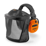 Stihl DYNAMIC BT-N face & hearing protection set - 0000 884 0537  Suitable for a wide variety of uses, such as with a smartphone, Bluetooth 4.0, separate AUX input, battery runtime up to 38 hours, EN 352, SNR 29. (H:33; M:26; L:18). With nylon mesh in accordance with EN 1731.