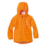 """Stihl Children's rain jacket (L - 9 - 10yrs) - 0420 410 0240  There's no such thing as bad weather when you have the STIHL children's rain jacket. This 100 % polyester jacket has a special waterproof coating and heat-sealed seams so it will withstand any weather. Orange, 100 % polyester with polyurethane coating, waterproof. Reflective front print with chainsaw, """"ON DUTY"""" text, and STIHL logo."""