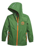 Stihl Children's packable rain jacket (M - 7 - 8yrs) - 0420 410 0328  To keep little ones dry even in sudden rain showers. Our green rain jacket made from 100 % water-repellent polyamide with orange zips is as stylish as it is practical. Elasticated cuffs prevent water from getting into the sleeves, while the hood, taped seams and high collar do the same at the top. And best of all: this rain jacket can be packed into its side pocket to form a small parcel. There's nothing like having fun in the rain!