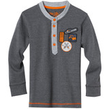 Stihl WILD KIDS long-sleeved shirt (XL - 10 - 12yrs) - 0420 400 0352  This long-sleeved shirt is made from a soft, snug cotton blend and kids will love the sewn-on patches featuring cool motifs such as an excavator, a chainsaw and the WILD KIDS logo. Grey marl, 60% cotton, 40% polyester, stand-up collar with contrasting button placket, various cartoon style badges, cuffed sleeves.