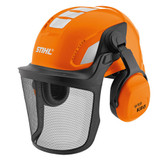 Stihl Children's toy helmet - 0420 460 0001  Accurate replica of the STIHL professional helmet, ABS plastic, folding visor, adjustable size, attachable ear protectors, no protective function, suitable for children aged 3 and up.     Technical dataValue ColourOrange MaterialABS SizeOne size