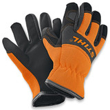 Stihl Children's CARVER work gloves (From 10yrs) - 0460 939 0060  These children's work gloves are exactly like their adult counterparts. The back of the protective gloves is made from an elastic spandex/elastane blend fabric and features a prominent STIHL logo, while the palm of the gloves is made from durable synthetic leather. They make playing outside even more fun!