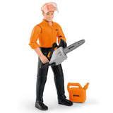 Stihl Children's Forestry worker play figure - 0464 972 0000  Boys and girls alike can give their imaginations free rein with our forestry worker play figure, made by Bruder. The forestry worker has moving arms and legs and is of course well-equipped, with a helmet, jerry can and chainsaw. Figure height: approx. 11cm.
