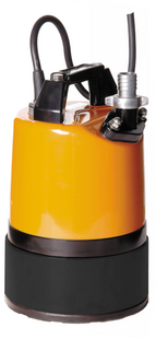 """The Tsurumi LSC1.4S 110v 1"""" Residue/Puddle Pump is able to pump water down to 1mm, which makes it suitable for pumping large or small areas of nuisance water found on flat surfaces. It incorporates a dual position outlet port, to enable the user to position the outlet hose horizontally or vertically and avoid it kinking. For durability, during robust handling, puddle pump has a pressed steel outer casing and a cast aluminium pump stand, to offer increased protection of the steel and rubber base plate. A combination of a rubber pump chamber and a urethane vortex impeller enables the design to offer excellent wear resistance in site water applications that contain sand and silt in suspension, thus maintaining performance and reliability."""