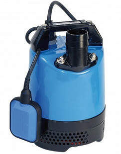 """The Tsurumi LB-480 240v 2"""" Auto Submersible Pump incorporates a dual position outlet port, to enable the user to position the outlet hose horizontally or vertically and avoid it kinking. A combination of a rubber pump chamber, rubber wear plate and a urethane vortex impeller provides excellent wear resistance in site water applications that contain sand and silt in suspension, thus maintaining performance and reliability. They use a 403 stainless steel shaft that is fitted with an ultra hardwearing double mechanical seal (inboard: silicon carbide-silicon carbide) which runs in an oil chamber that has an oil lifter to maintain seal lubrication during operation in any position."""