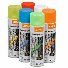 Stihl Forestry Eco Spray 500ml - Orange - 000 881 1787  High quality, frost-resistant and environmentally friendly long-lasting marking colour with an intensive, luminous pigment and high opacity.  The adhesive agent is 100% biodegradeable and manufactured from renewable materials.  Practically odourless and extremely effective. In a 500ml spray can.