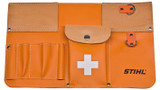 Stihl Tool Bag - 0000 881 0516  Made of flexible PVC with a foam back and leather trim - holds small items (tools), first aid kit and tape measure.