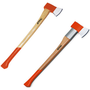 Stihl AX 28 C Cleaving Axe Hickory Handle 80 cm - 0000 881 2014  AX 28 CS cleaving axe, 2.800g  Optimum cleaving results with minimum effort thanks to wedge-shaped head. Available in a version with impact protection sleeve and safety plate to minimise damage to the tool.