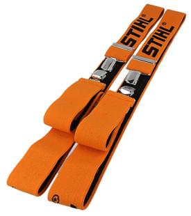 Stihl Orange Trouser Braces 110cm - Metal Clips - 0000 884 1510  Orange braces of various lengths.