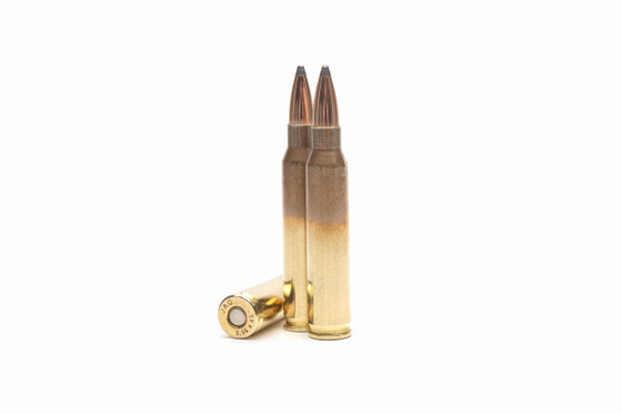 """Designed for extreme accuracy and ballistic performance, the Elite 5.56 65 GR boat tail soft point is the chosen ammunition of US Military and Federal Law Enforcement.  50 Rounds Per Box - 1,000 Rounds Per Case - 3,000 FPS from 20"""" Test Barrel"""