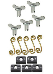 Quarter Turn Winged Oval Head with Springs and Back Plates- 5Pack