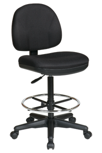 Drafting Chair with Stool Kit ·Contour Seat and Back with Built-in Lumbar Support ·One Touch Pneumatic Seat Height Adjustment ·Back Height Adjustment ·Seat Depth Adjustment ·Adjustable Footrest ·Heavy Duty Nylon Base with Dual Wheel Carpet Casters ·GREENGUARD Indoor Air Quality Certified®